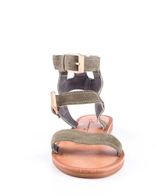 Vintage Havana Ada Army Green Ankle Leather Strap