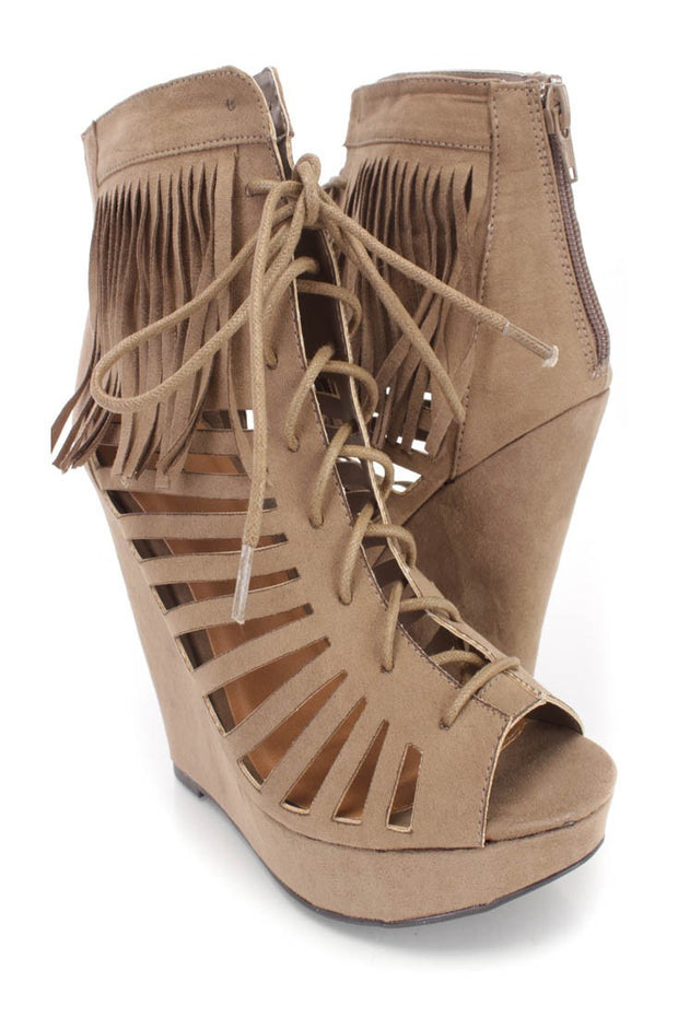 Glory Taupe Suede Lace Up Fringe Wedge