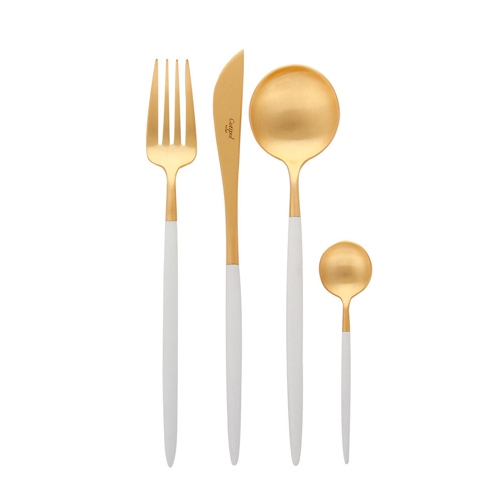 Goa White & Matte Gold Flatware Set (24 Pieces)
