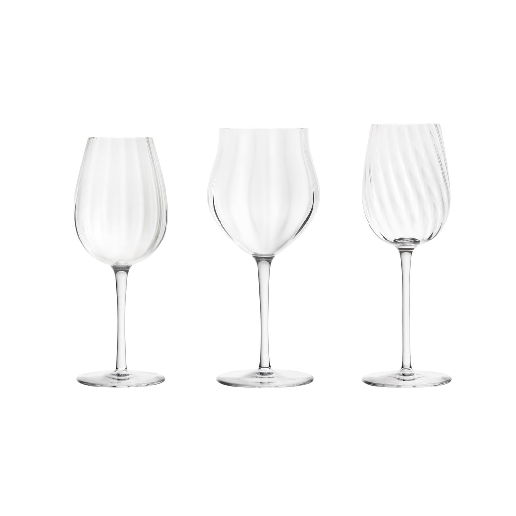 Set of 3 Glasses: Mature Wine, Young Wine and Champagne