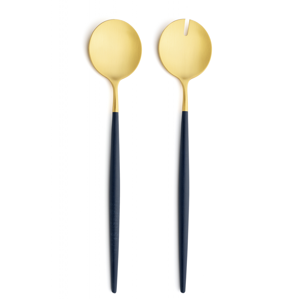 Goa Blue & Matte Gold Salad Servers