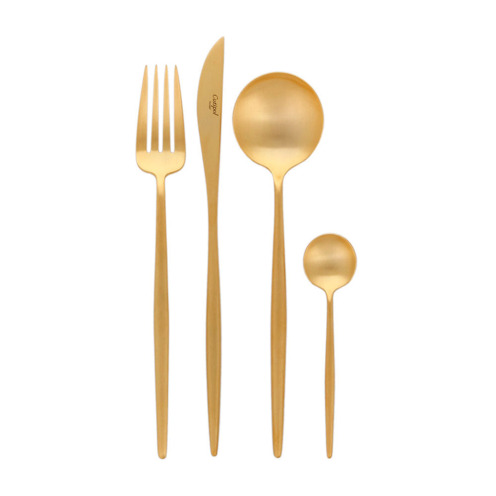 Moon Matte Gold Flatware Set (24 Pieces)