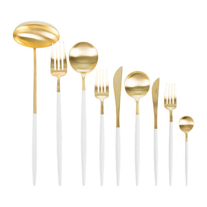 Goa White & Matte Gold Flatware Set (75 Pieces)