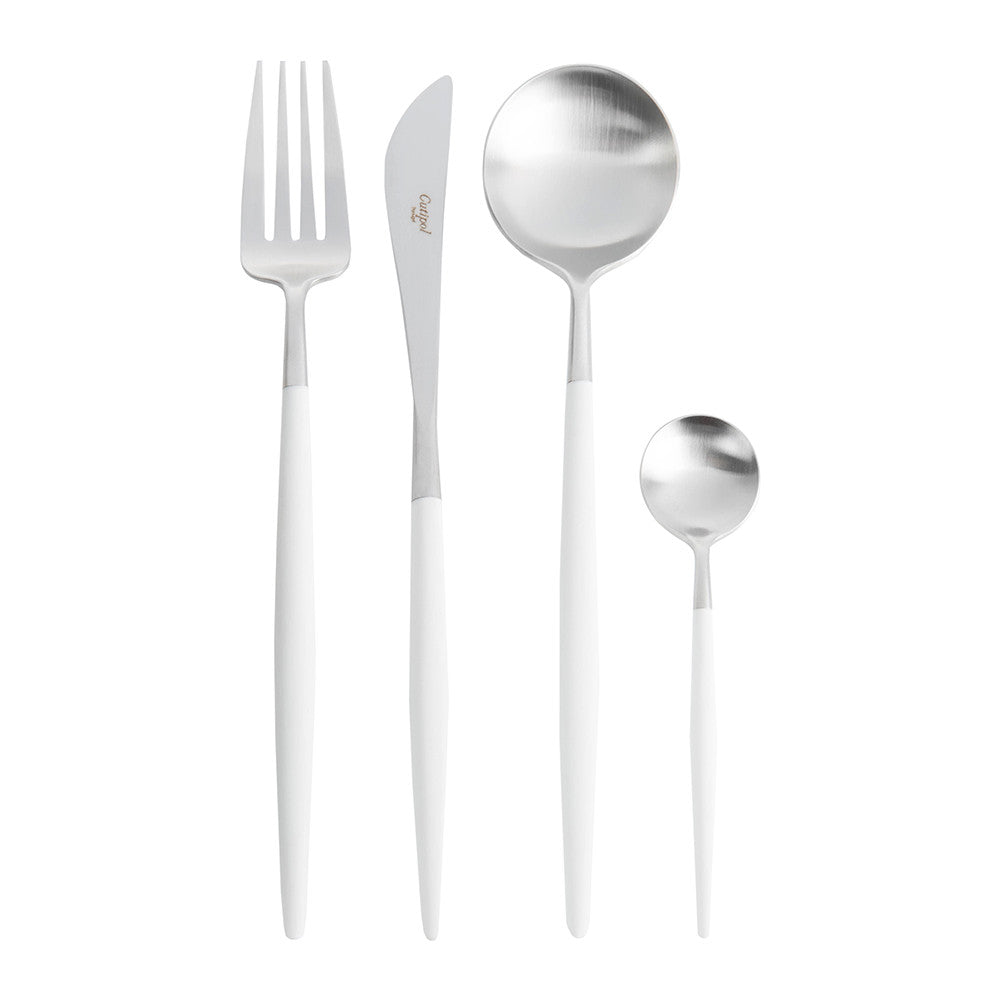Goa White & Silver Flatware Set (75 Pieces)