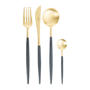 Goa Blue & Matte Gold Flatware Set (24 Pieces)