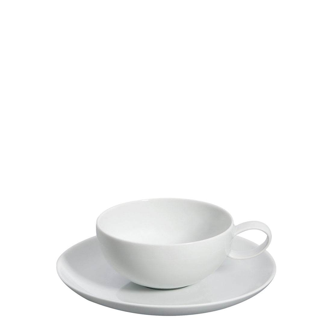 Domo White Tea Cup & Saucer, Set of 4