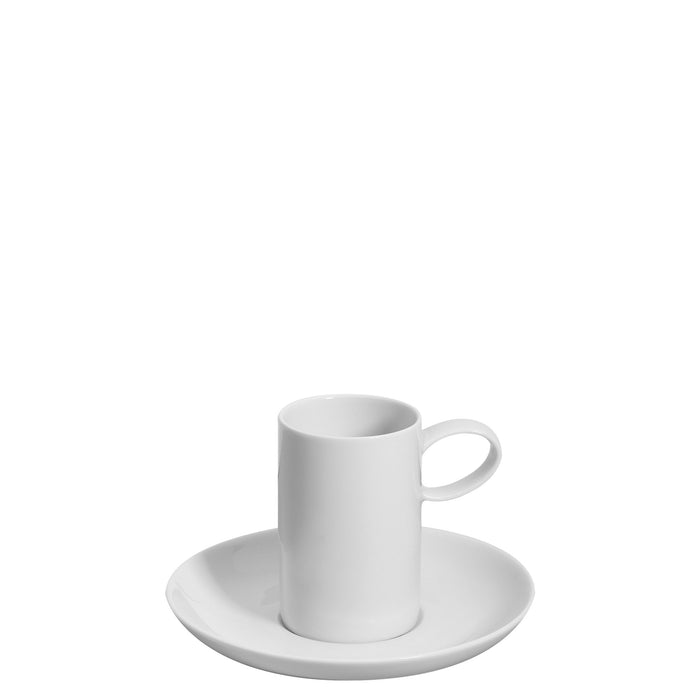 Domo White Coffee Cup & Saucer, Set of 4