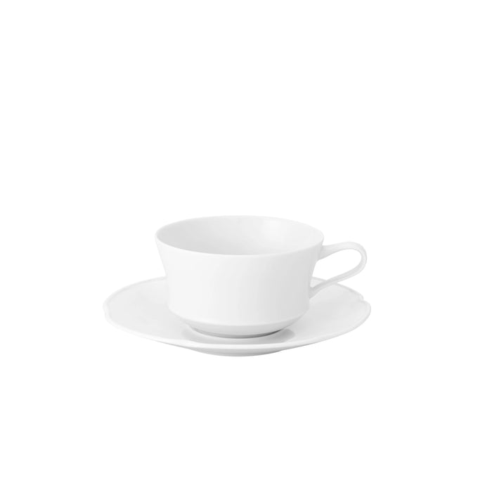 Crown White Tea Cup & Saucer, Set of 4