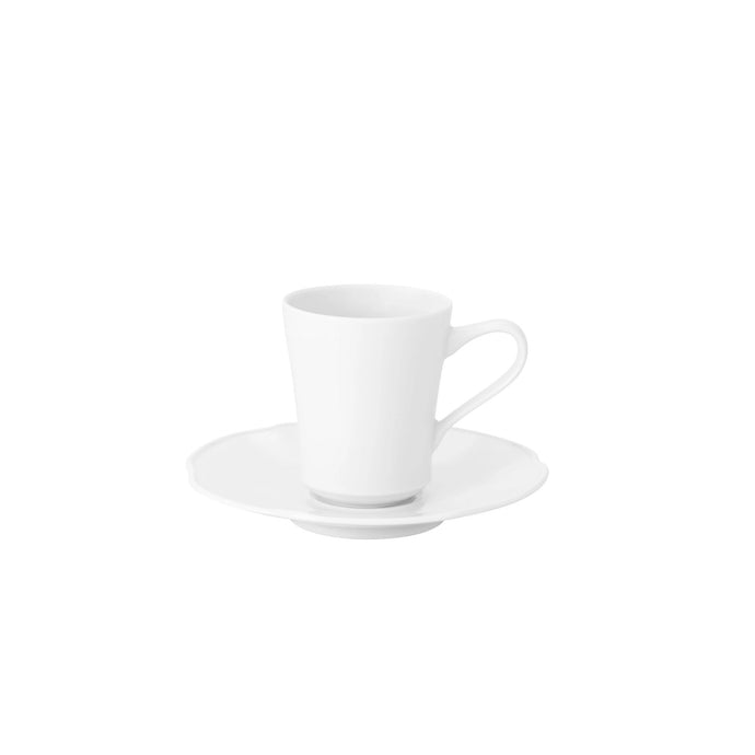 Crown White Coffee Cup & Saucer, Set of 4