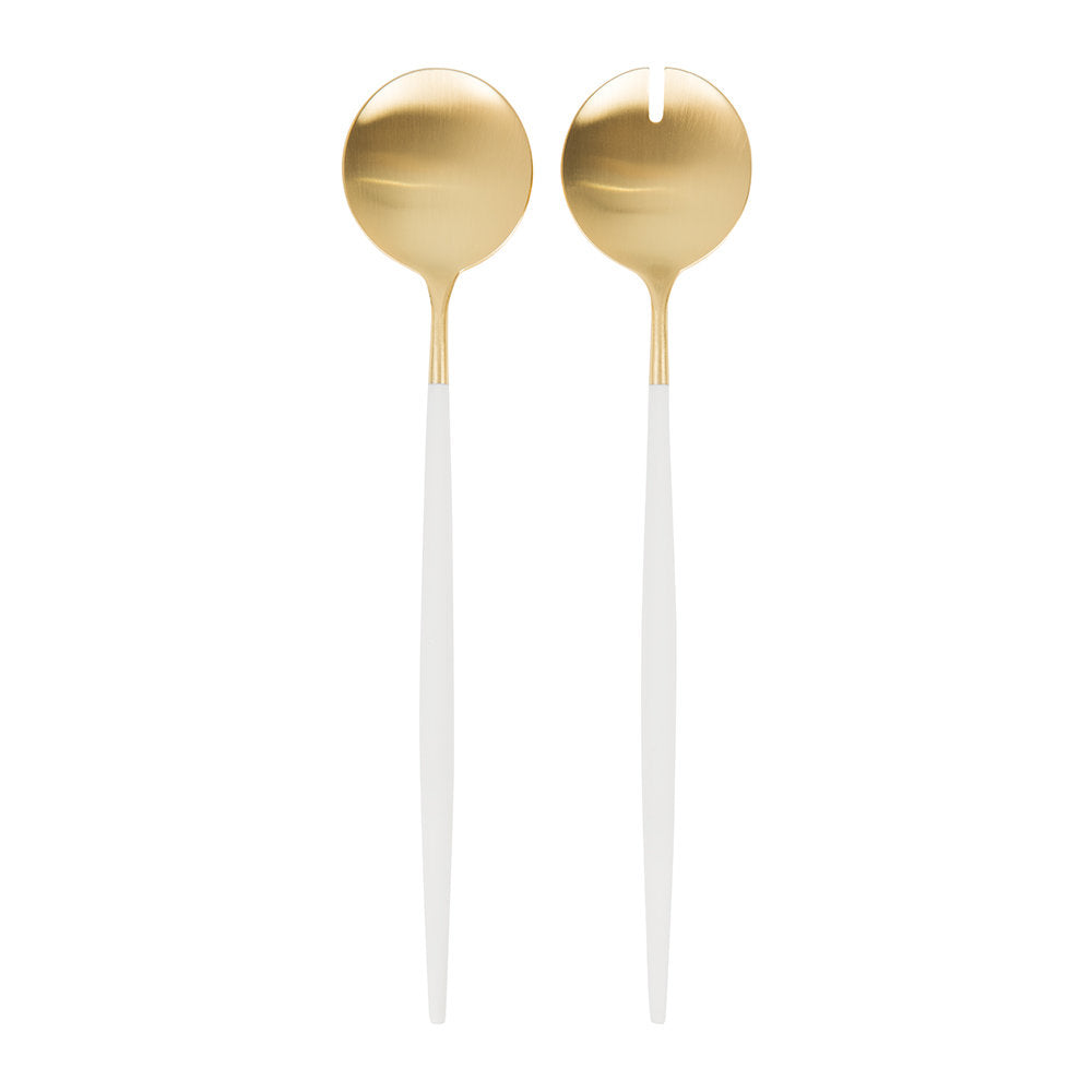Goa White & Matte Gold Salad Servers