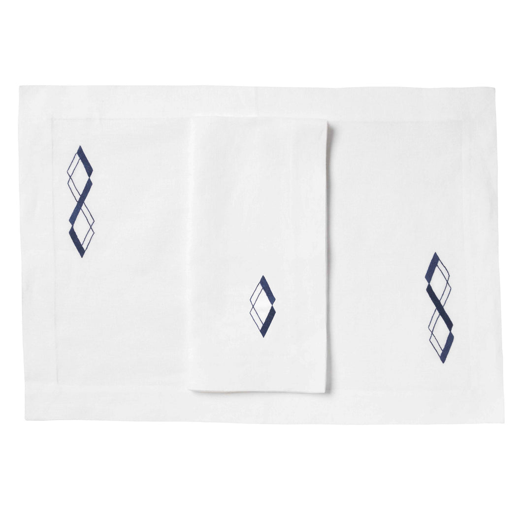 Geometric Diamond Linens, Set of 4