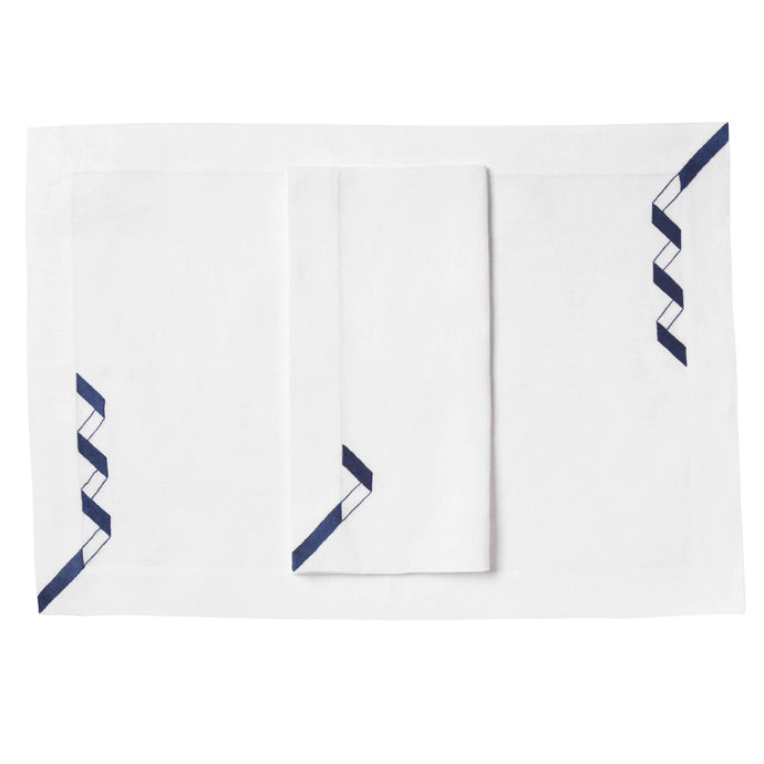 Geometric Ribbon Linens, Set of 4