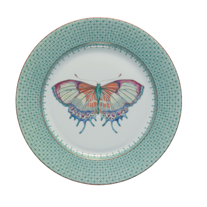 Green Lace Dessert Plate with Butterfly