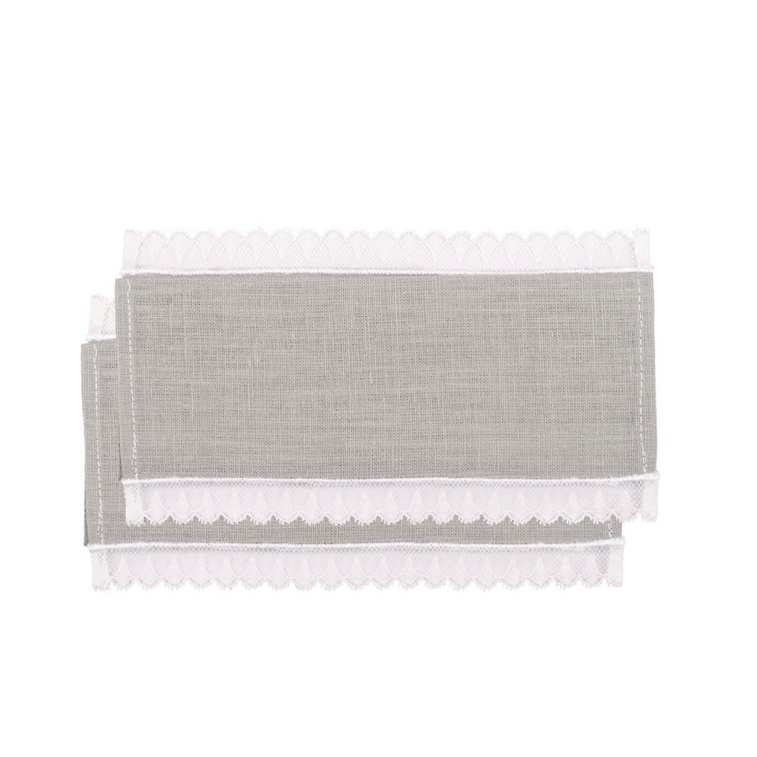 Lace Grey Cocktail Napkin, Set of 4