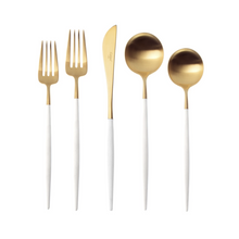 Load image into Gallery viewer, Goa White & Matte Gold Flatware Set (75 Pieces)