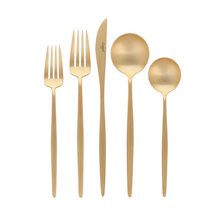 Load image into Gallery viewer, Moon Matte Gold Flatware Set (75 Pieces)