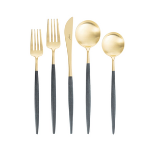 Goa Blue & Matte Gold Flatware Set (75 Pieces)