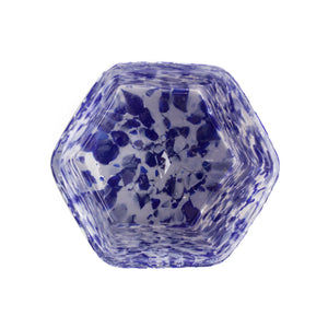 Macchia su Macchia Ivory & Blue Hexagonal Glass, Set of 6
