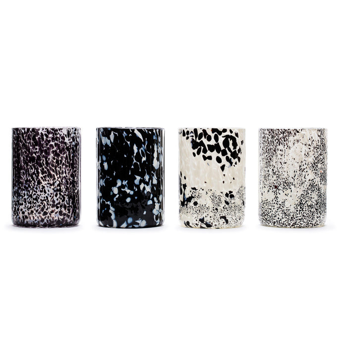 Macchia su Macchia Black & White Glass, Set of 4