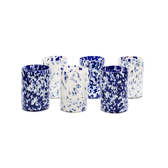 Macchia su Macchia Ivory & Blue Glass, Set of 6