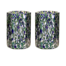 Load image into Gallery viewer, Macchia su Macchia Ivory, Green & Blue Hexagonal Glass, Set of 6
