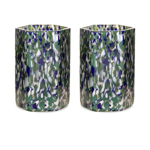 Macchia su Macchia Ivory, Green & Blue Hexagonal Glass, Set of 6