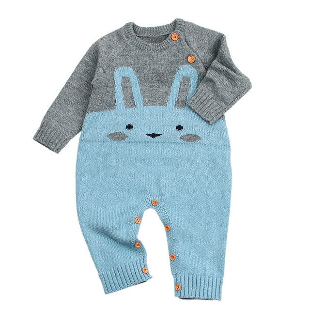 Knitted Rabbit Romper - walker