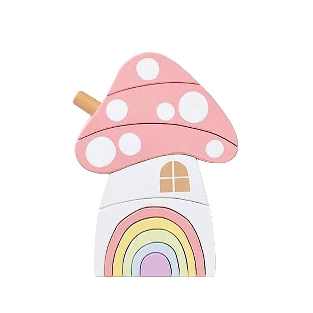 Wooden Block Mushroom Rainbow - walker