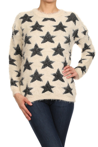 Star Patterned Faux Fur Knit Sweater - My Jewel Candy - 1