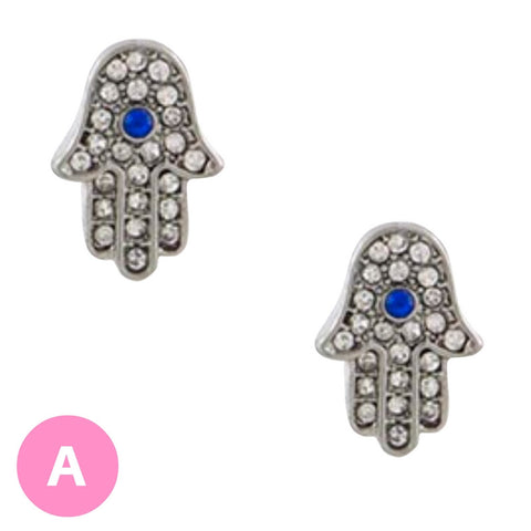 Hamsa Evil Eye Crystal Earrings - My Jewel Candy - 1