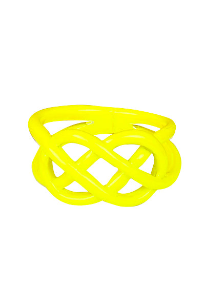 Yellow Neon Dipped Pretzel Ring - My Jewel Candy - 1