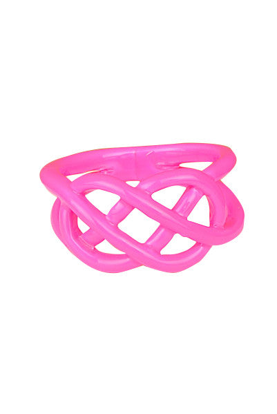 Pink Neon Dipped Pretzel Ring - My Jewel Candy