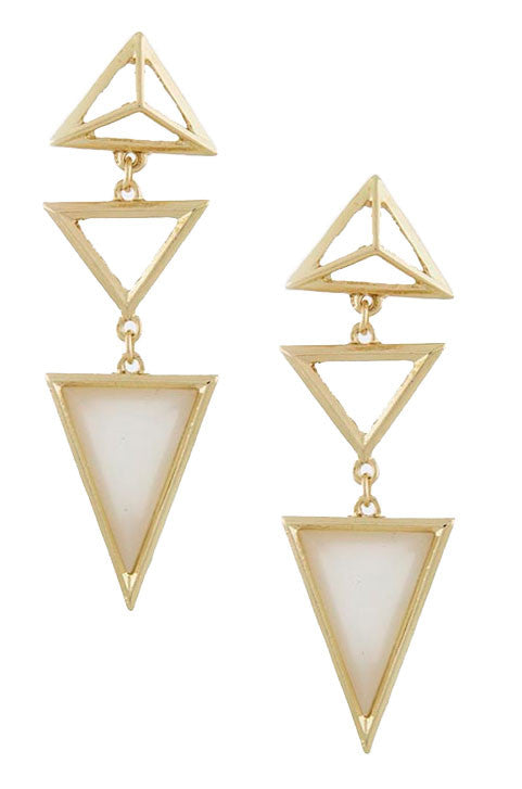 Triangle Droplet Earrings (Opal) - My Jewel Candy