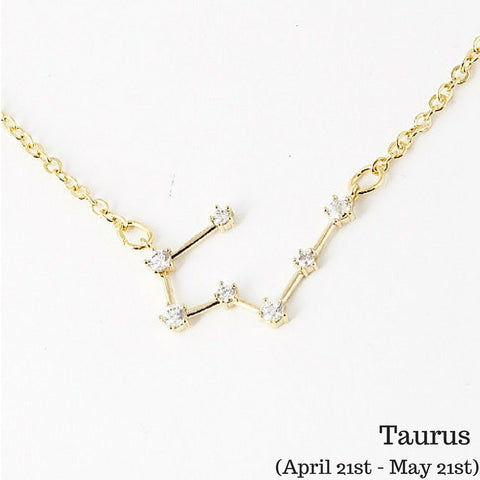 Taurus Constellation Zodiac Necklace (04/21-05/21) - As seen in Real Simple, People & more - My Jewel Candy - 1