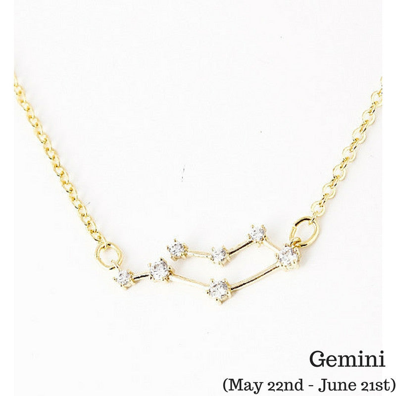 Gemini Constellation Zodiac Necklace  (05/22-06/21) - As seen in Real Simple, People Magazine & more - My Jewel Candy - 1