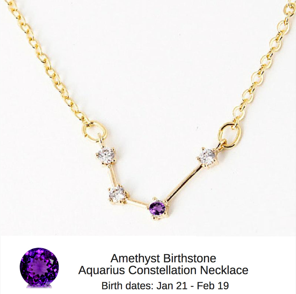 "Aquarius Birthstone Constellation Zodiac Necklace (with Amethyst Birthstone) - ""Star Candy"""