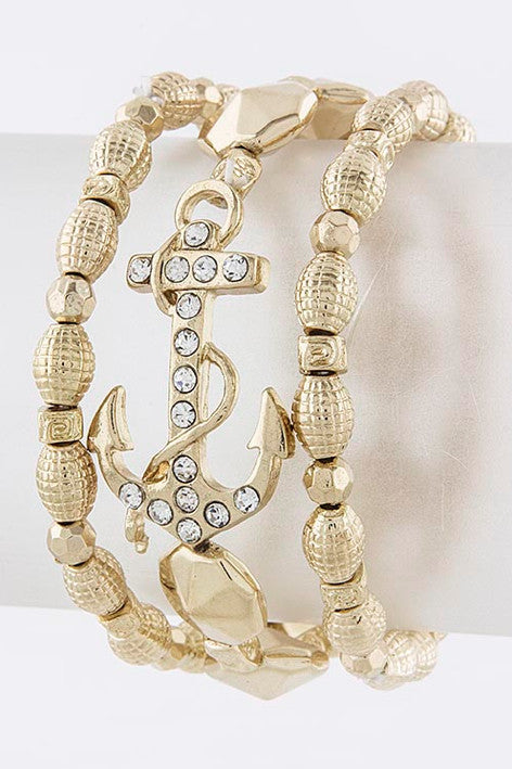Crystal Anchor Bracelet Set - My Jewel Candy