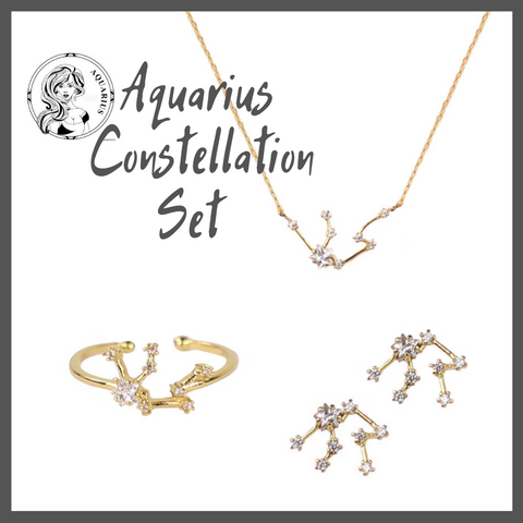 Aquarius Zodiac Jewelry Constellation Holiday Gift Set