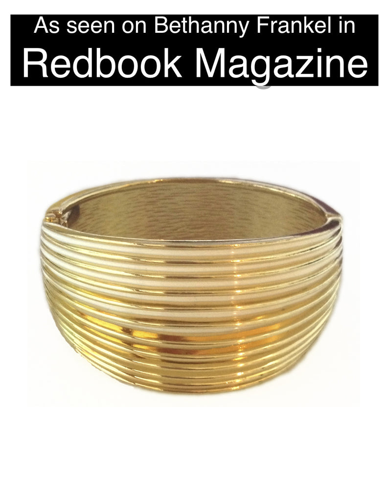 Bethenny Frankel's Gold Striped Cuff Bracelet - My Jewel Candy
