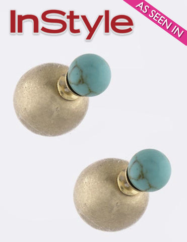 Turquoise Crackled Stone Double-Sided Earrings (As seen in InStyle Magazine) - My Jewel Candy - 1