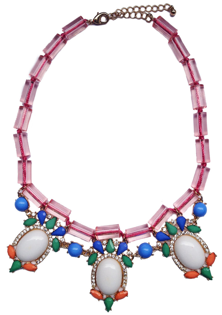 Jewel Fantasy Necklace - White & Pink - My Jewel Candy