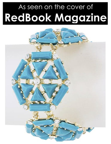 Turquoise & Crystal Hexagon Bracelet - My Jewel Candy - 1