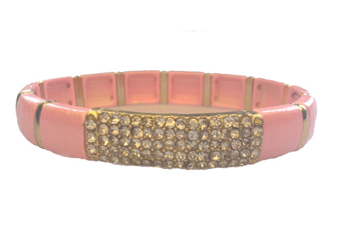 Baby Pink & Crystal Stretch Bracelet - My Jewel Candy - 1