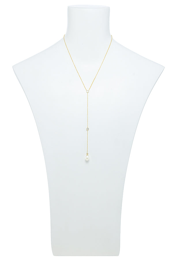 Gorgeous Pearl Teadrop Lariat Necklace