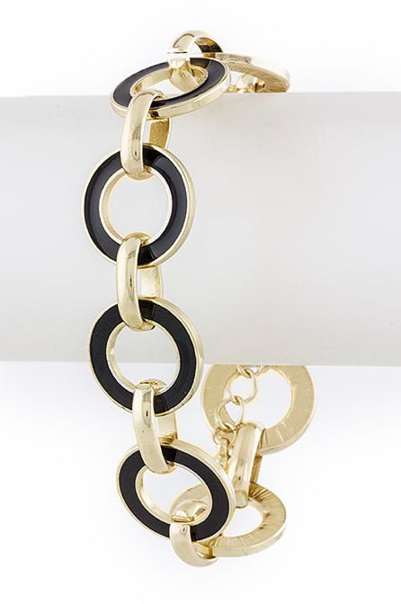 Black & Gold Circle Chain Bracelet - My Jewel Candy