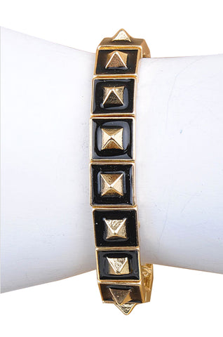 Licorice Dipped & Gold Pyramid Stretch Bracelet - My Jewel Candy
