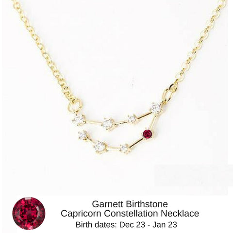 "Capricorn Birthstone Constellation Zodiac Necklace (with Garnett Birthstone) - ""Star Candy"""