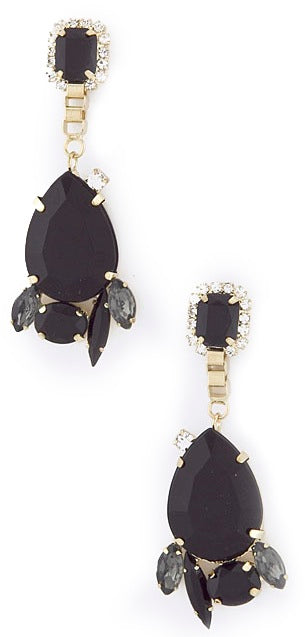 Midnight Teardrop Jewel & Crystal Cluster Earrings - My Jewel Candy