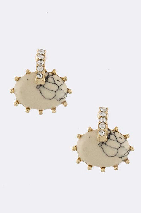 Cream Oval Stone Earrings - My Jewel Candy - 1