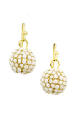 Cream Dangle Disco Ball Earrings - My Jewel Candy - 1